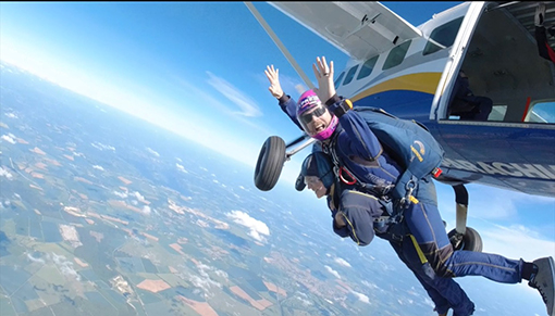 Francesca took on the challenge of a skydive for Redwings
